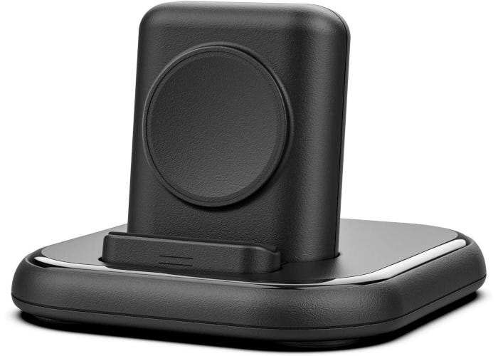 Black Apple Watch charging stand with magnetic charger and Nightstand Mode