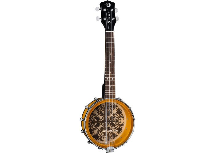 Front-facing 4-string banjolele with a clear drum head.