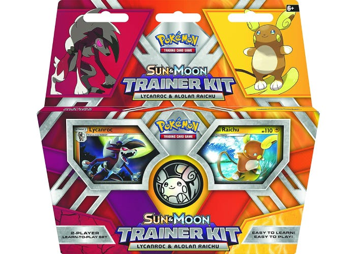 A colorful trainer kit box with two Pokemon on display.
