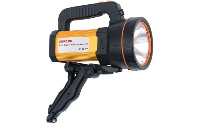 A black and yellow spotlight featuring a top handle and a downhandle that converts into a tripod.