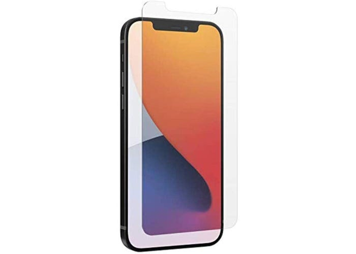A clear screen protector hovering in front of an iPhone with an orange and purple screen saver.