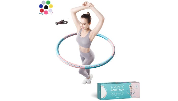 Woman spinning a hula hoop with products blue packaging shown below.