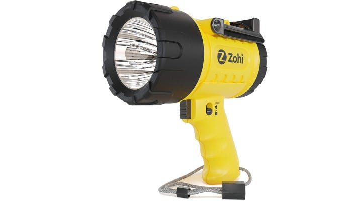 A 1.74-pound yellow and black spotlight features an ergonomically molded grip, a hang strap at its base, and a hands free kick stand at the top.