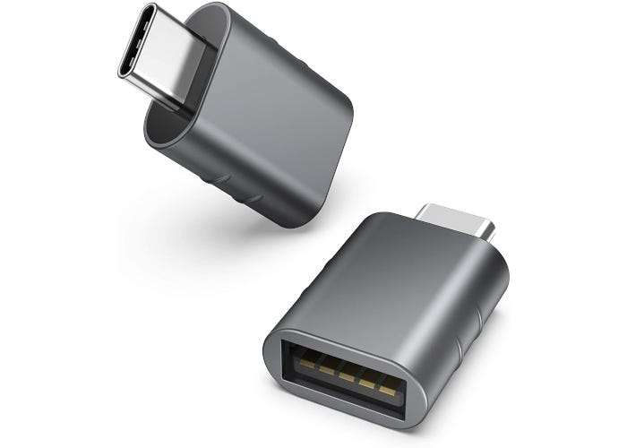Space grey USB-C to USB adapter show from a top view and side view.