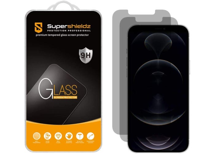 Black and orange packing next to two screen protectors and an iPhone.