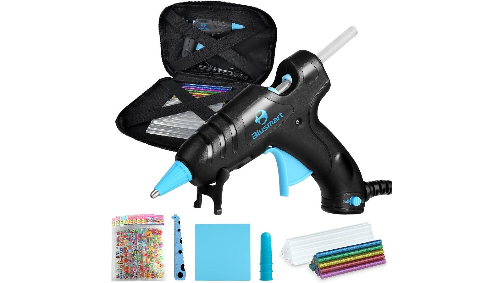 black glue gun with a black carrying case, a stack of transparent glue sticks, a stack of colorful glue sticks, and various accessories