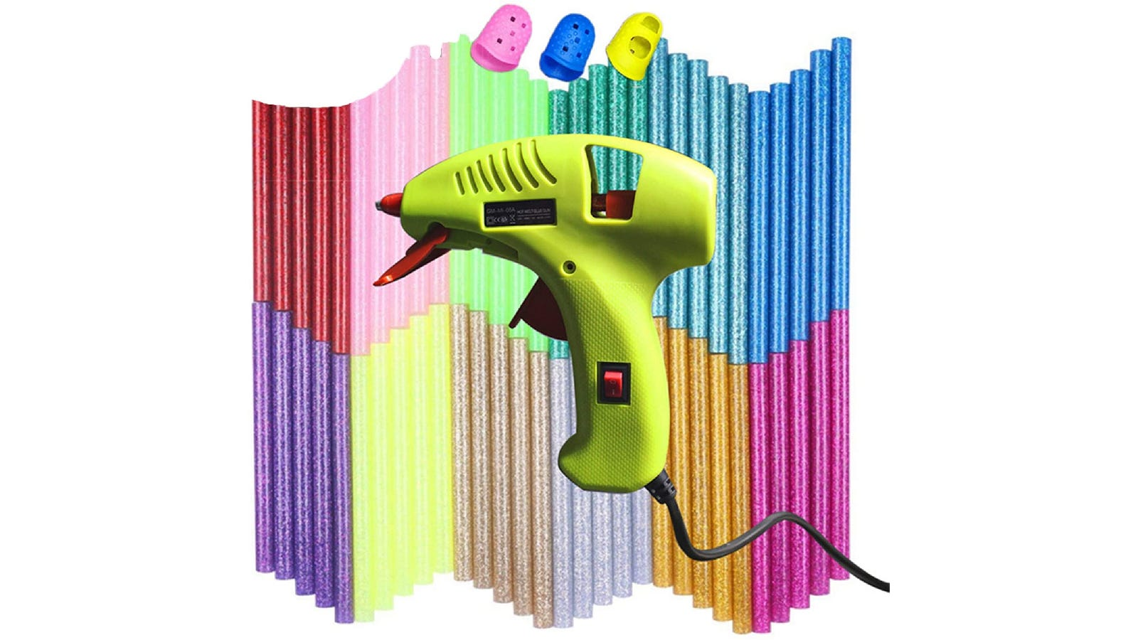 lime green glue gun on a background of colorful, glitter glue sticks