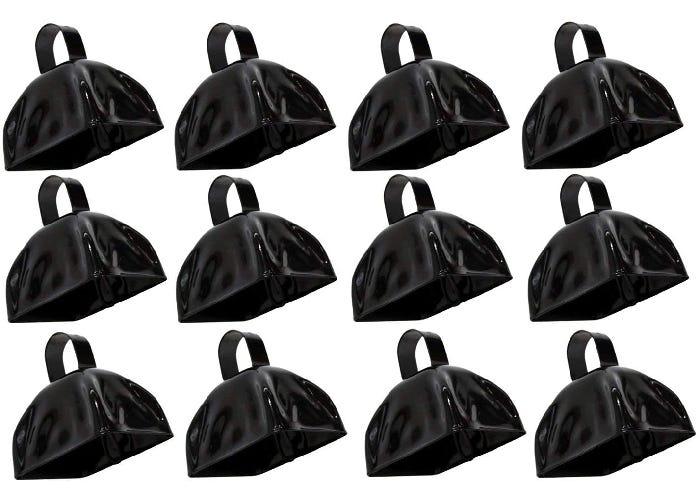 Twelve small black cowbells.