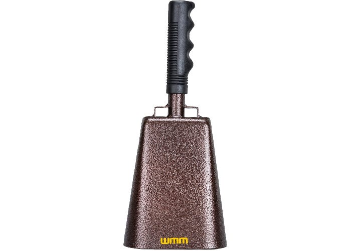 Copper cowbell with a black handle.