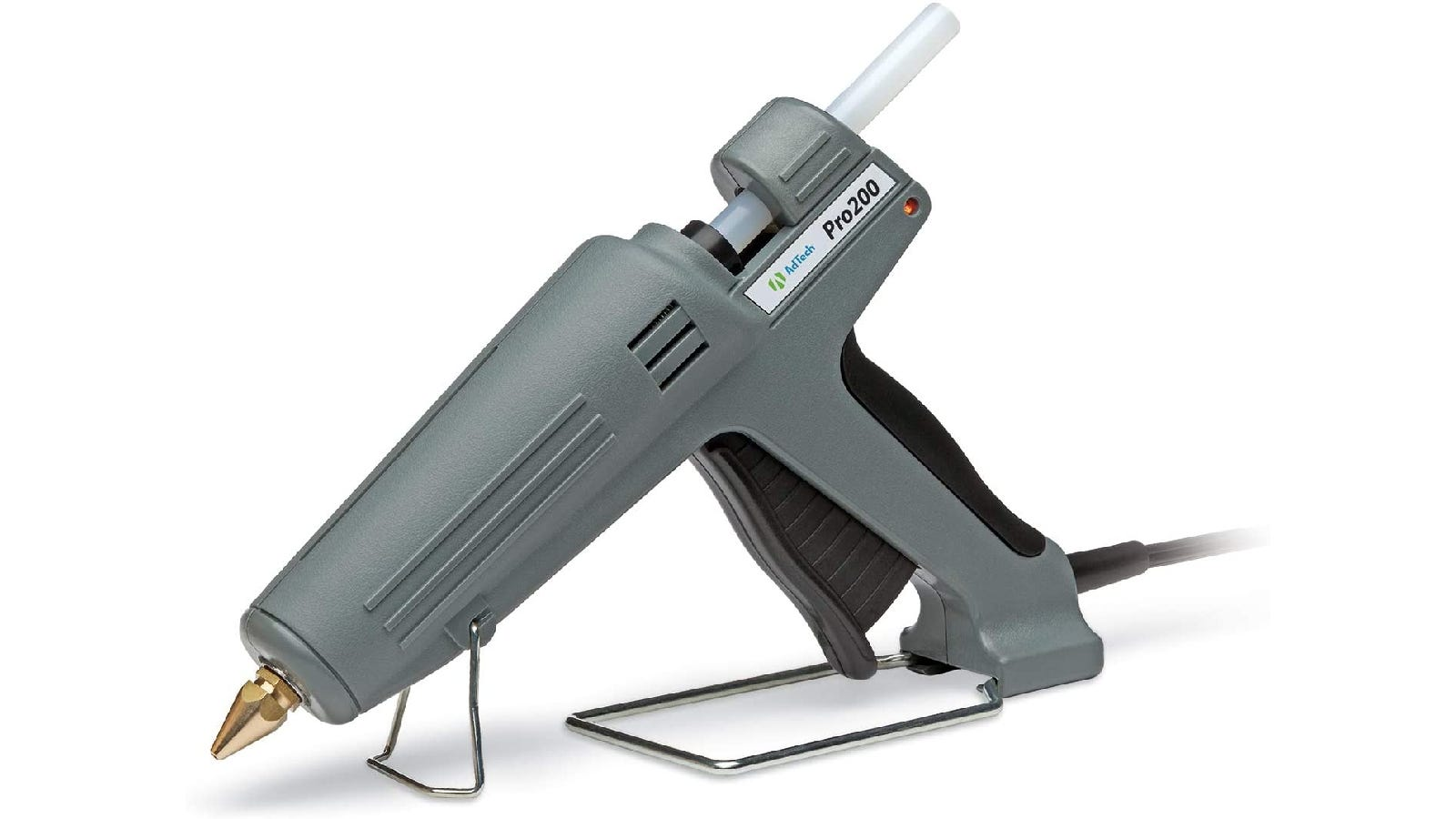gray glue gun with metal stand and gold tip