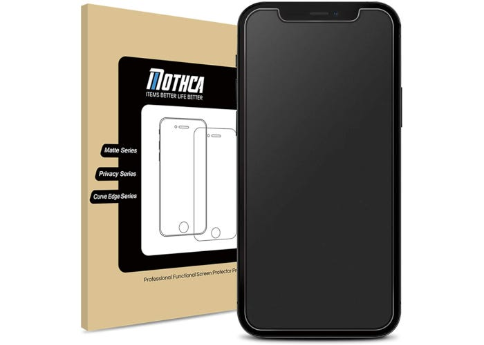 A screen protector on a black iPhone with the packaging in the background.
