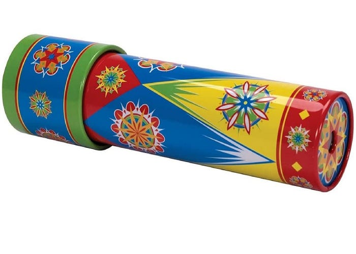 a multicolored tin kaleidoscope with kaleidoscope visuals illustrated on its body.
