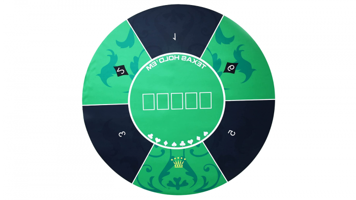 A round poker table top with a light and dark green pattern.