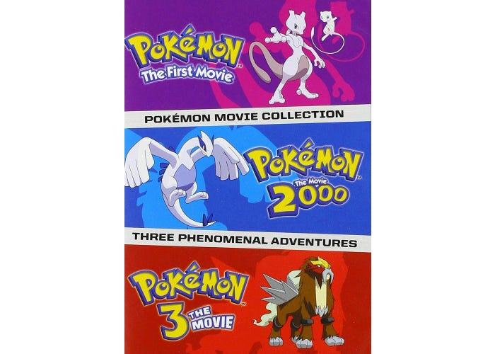 Illustration showcasing three Pokemon movies.
