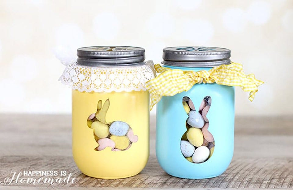 Example of adorable bunny treat jars filled with candies.