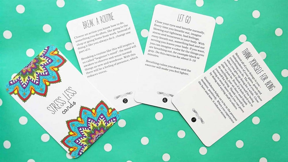 A deck of cards featuring mindfulness prompts.