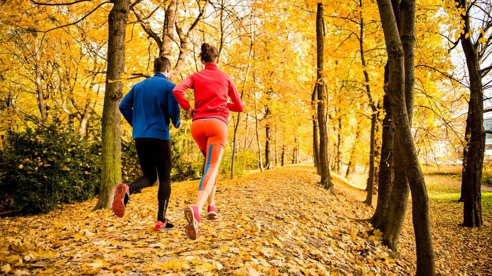 A man and woman running on a trail in the woods, surrounded by fall-colored leaves.