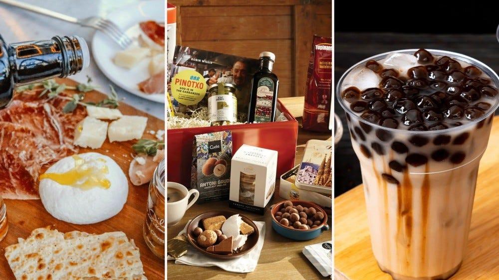 Példák olyan ételekre, amelyeket online nemzetközi élelmiszerboltoktól szerezhet be, például olajokat, különféle készleteket és buborékos teáskészleteket.