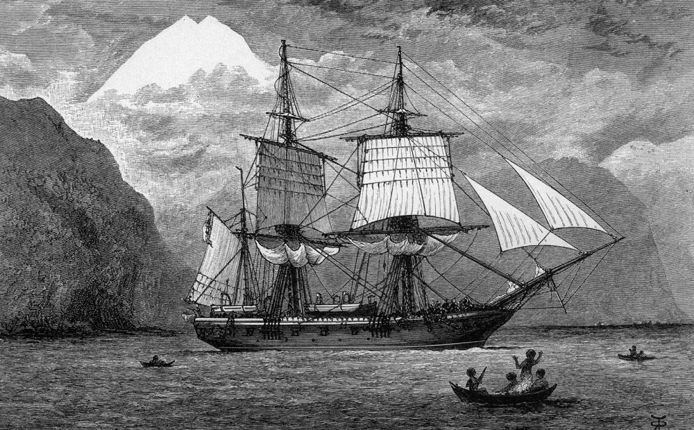 An etching of the SS Beagle in the Straits of Magellan.