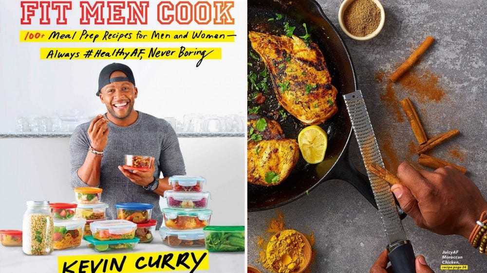 """""""Fit Men Cook"""" cover and an image of the author seasoning meat in a pan."""
