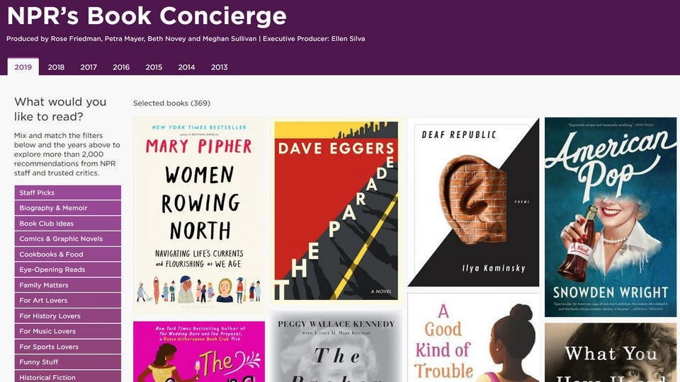 Splashpage of the NPR Book Concierge book recommendation engine.