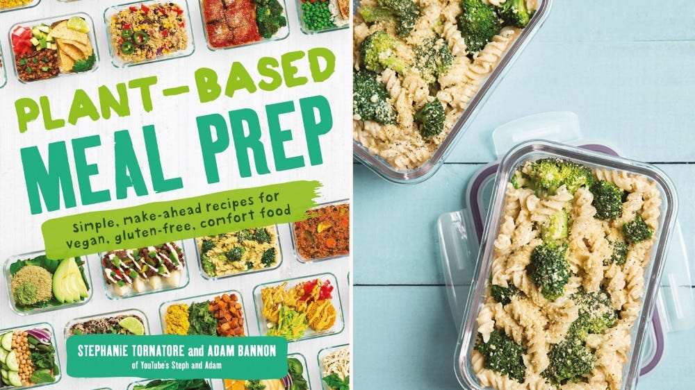 """The cover of the """"Plant-Based Meal Prep"""" cookbook and two casserole dishes full of pasta."""
