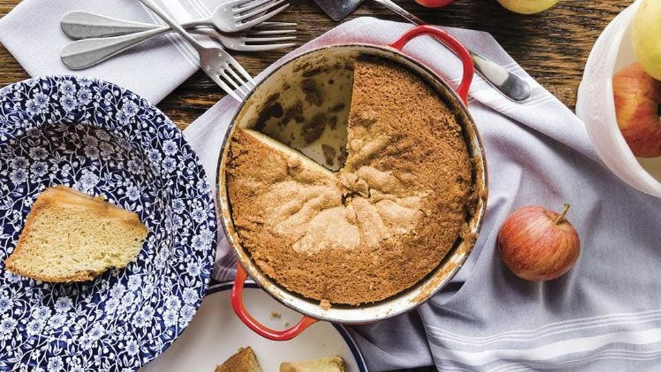 John Perkins' Dutch oven apple upside-down cake.