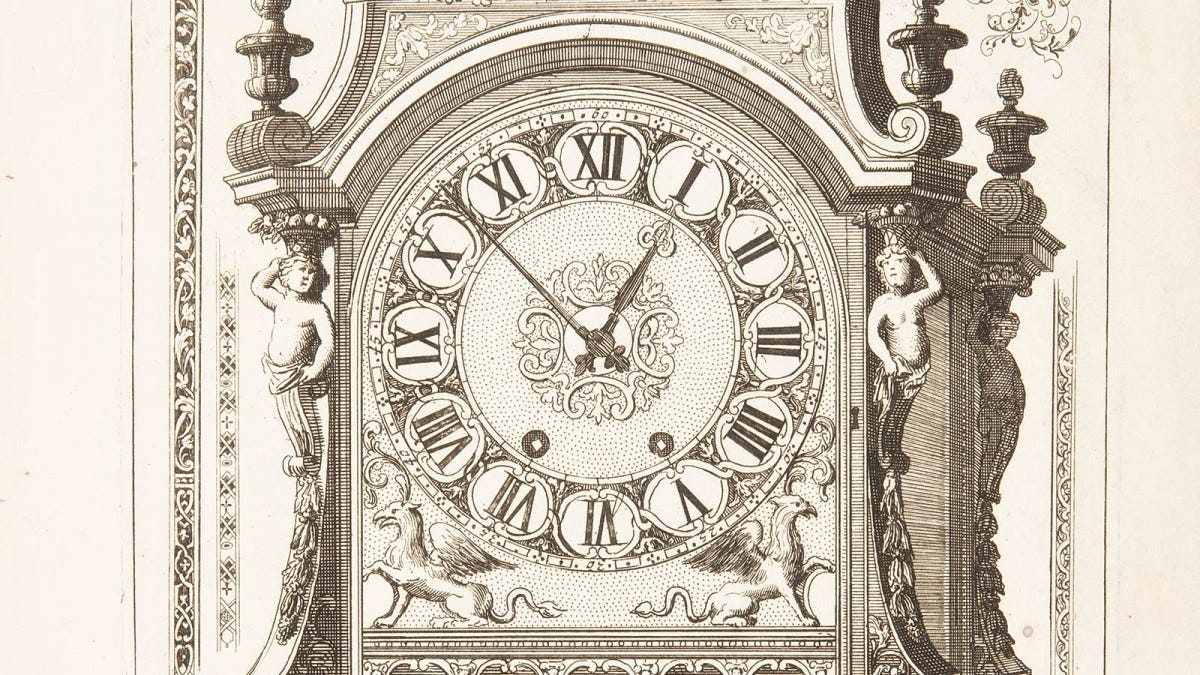A 17th century wood print of an elaborate mechanical clock.