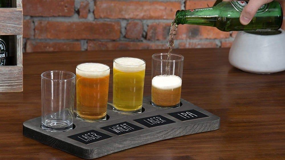 A beer flight platter.