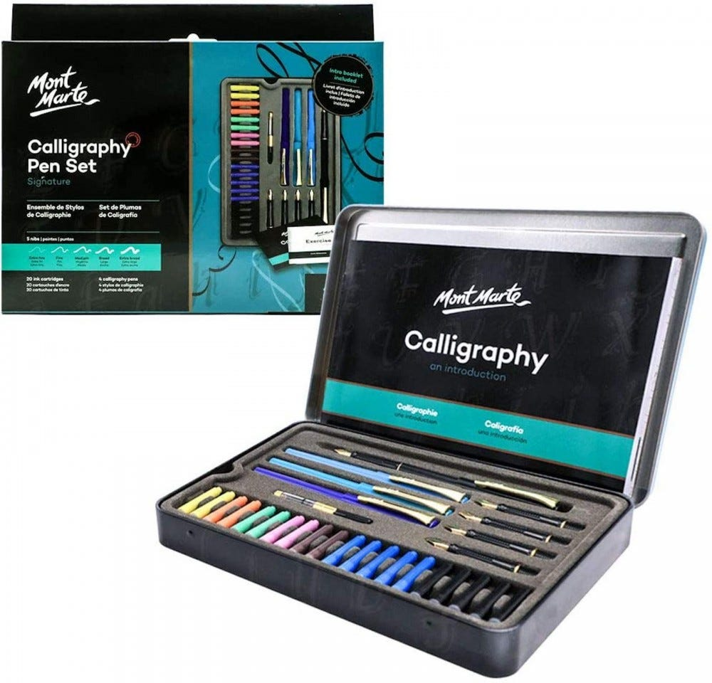 A case of colorful pens and brushes, sitting open