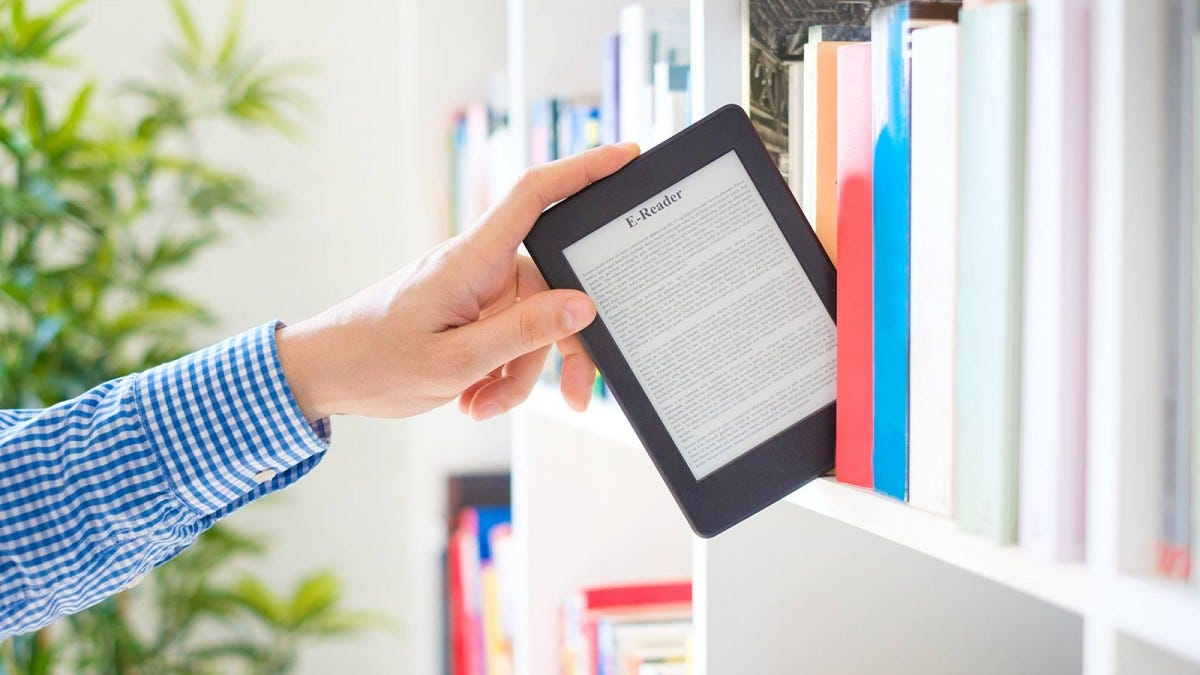Man putting an ebook reader on a shelf, symbolizing returning an ebook to the library.