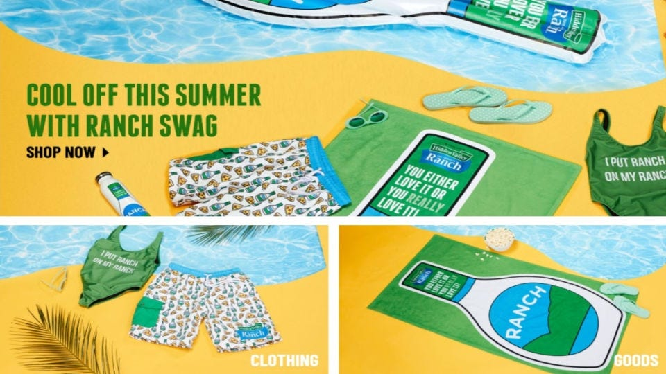 Summer merchandise for sale on the Hidden Valley Ranch website, including beach towels and swimwear.