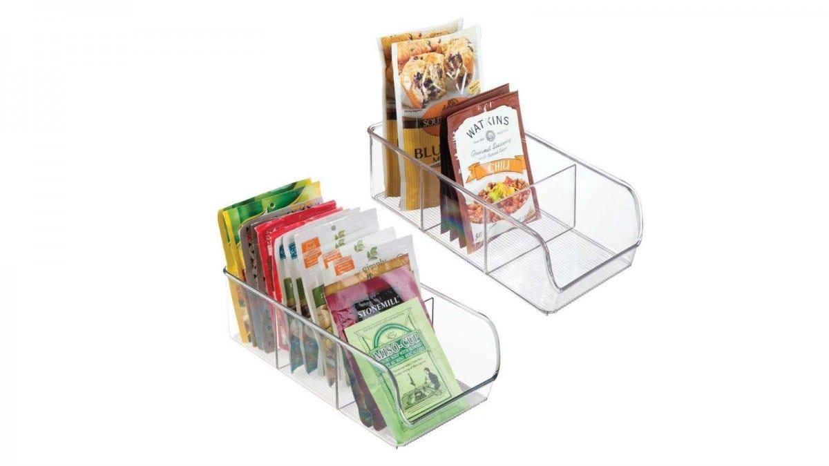 mDesign Plastic Food Packet Bin