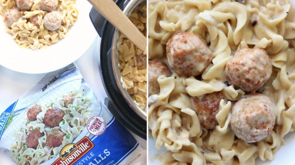 Two side-by-side images of instant pot Swedish meatballs. The left image is of the bag of frozen meatballs with a bowl of the meal and a cut off section of the instant pot and the right image displays the finished dish.