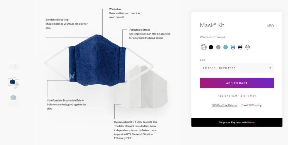 Ministry of Supply mask kit, detailing the design and filter choices.