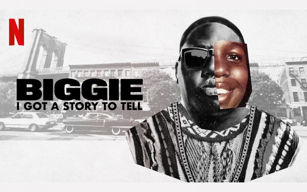"Een advertentie voor ""Biggie I Got a Story to Tell"" met rapper Biggie Smalls."