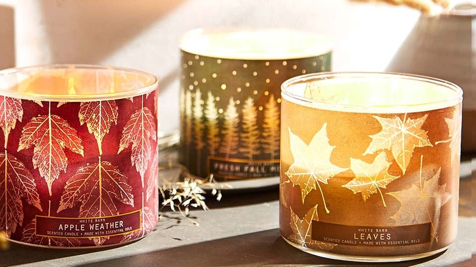 Bath & Body Works 3-wick fall-scented candles.
