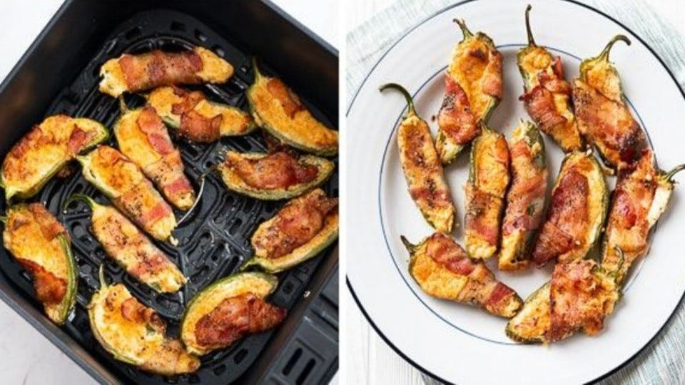 Two side by Side images; the left side is a tray of jalapeno poppers in the air fryer, and the right side are the finished poppers on a white plate.