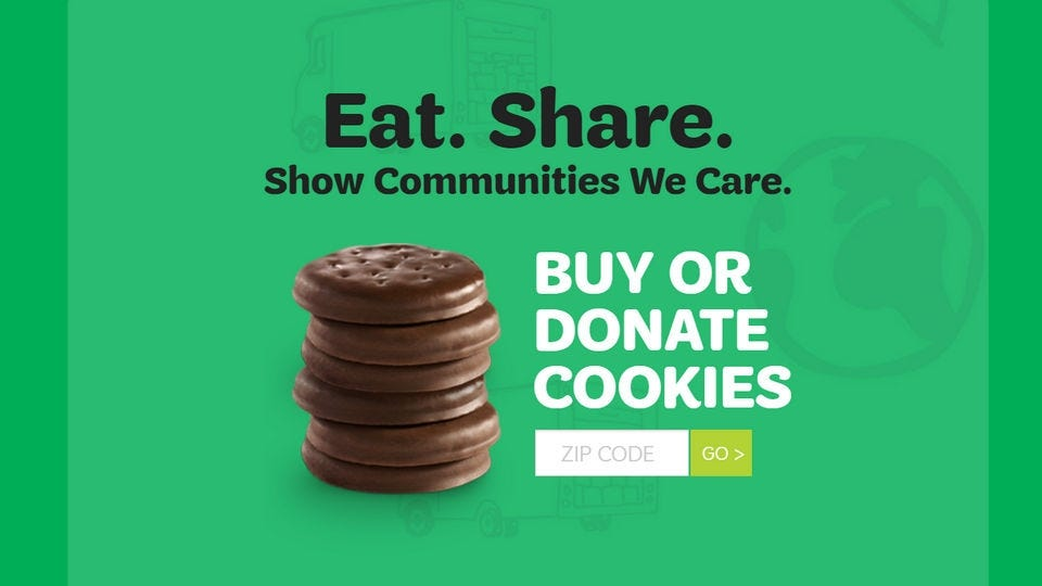 Splashpage for the Girl Scouts of America cookie buying page.