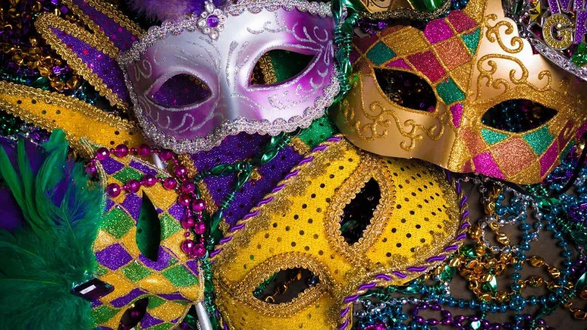 Colorful Mardi Gras masks.