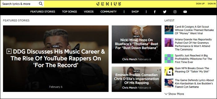 genius.com home page