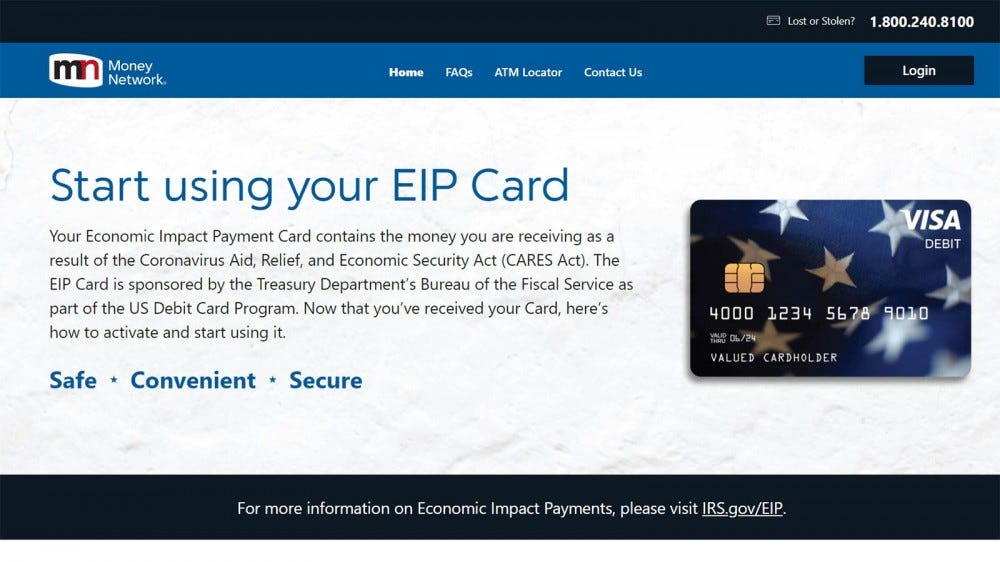The splashpage for the EIP card website.