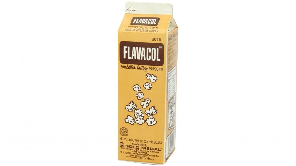 A container of Flavacol popcorn salt.
