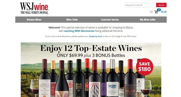 WSJwine website featuring its $70 bundle of 12 wines deal.