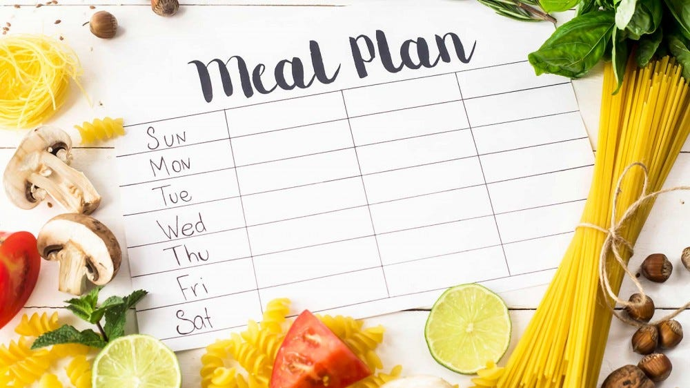 """A piece of paper with """"Meal Plan"""" written at the top, and the days of the week listed below."""