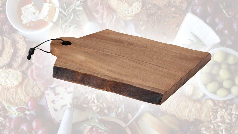 A rustic cutting board from Rachael Ray's 'Cuscina' line of home goods.