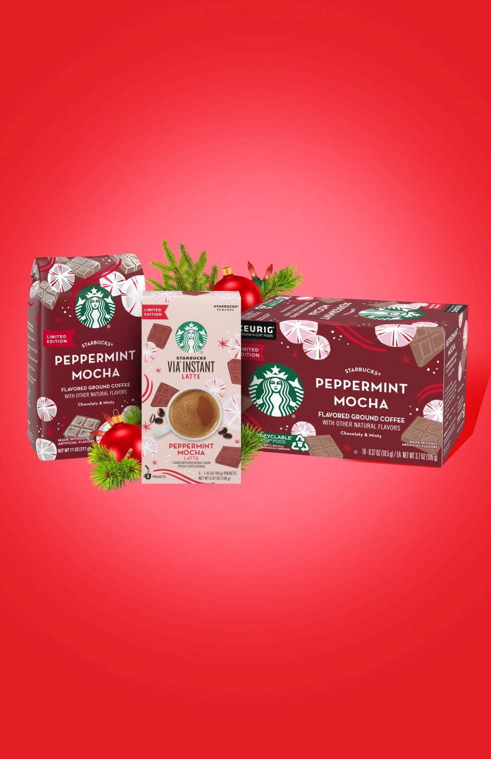 A bag of Starbucks ground coffee, instant coffee, and K-cups sitting next to each other.