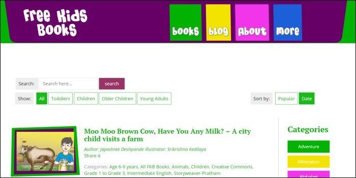 free kids books home page
