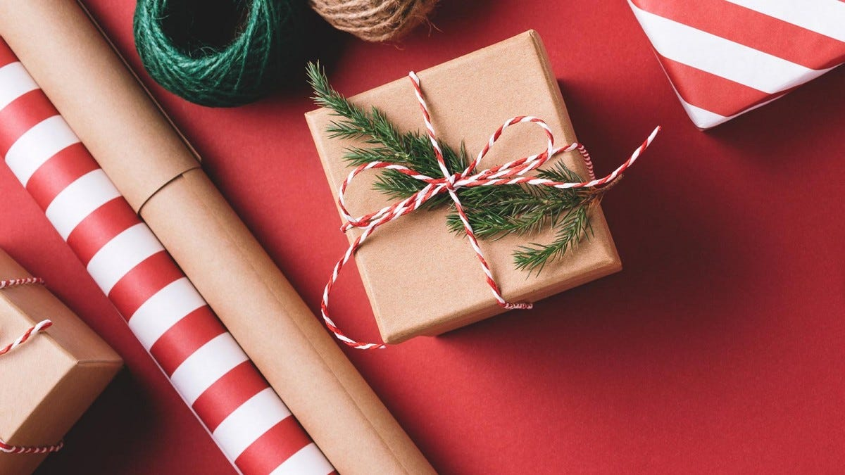 A present wrapped up with craft paper and twine.
