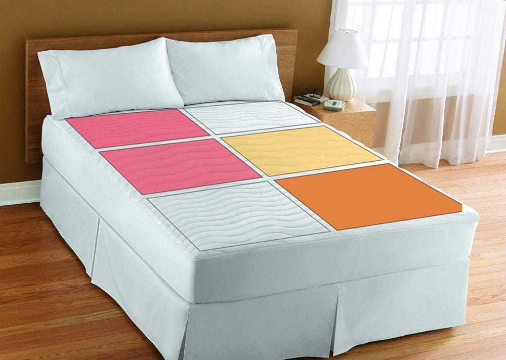 Multi-zone heated mattress pad.
